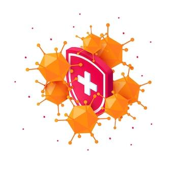 Isometric viruses and immune shield medical immunity concept