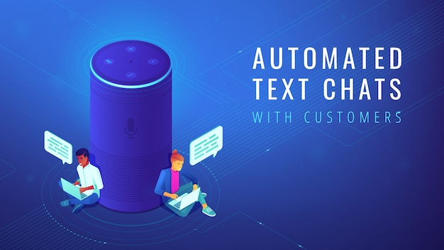 Isometric voice assistant automated text chats illustration