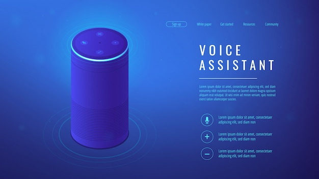 Isometric voice assistant landing page.