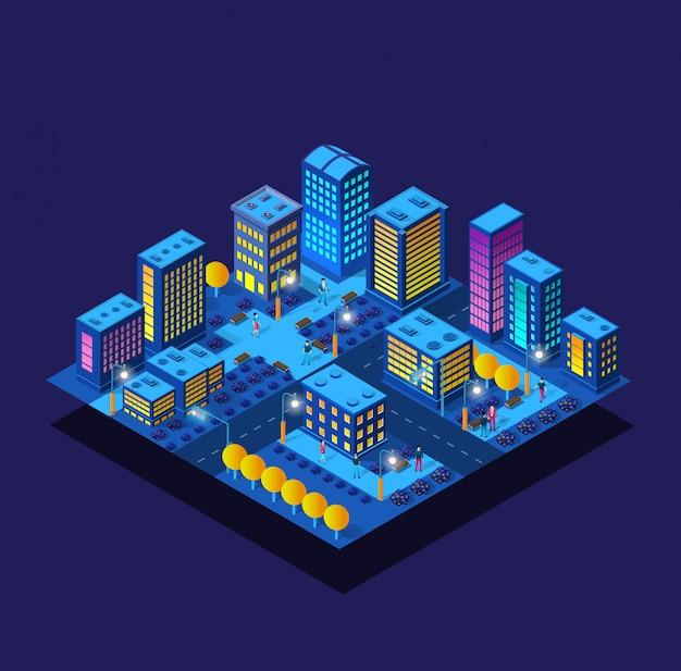 等尺性歩行者通行人紫超風景未来都市ツリーコンセプト