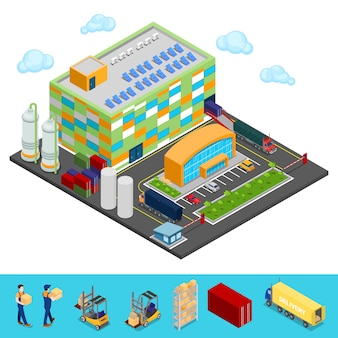 Isometric warehouse building with industrial shipping area. cargo industry.