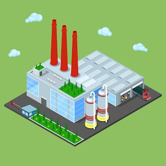 Isometric warehouse building with industrial shipping area.