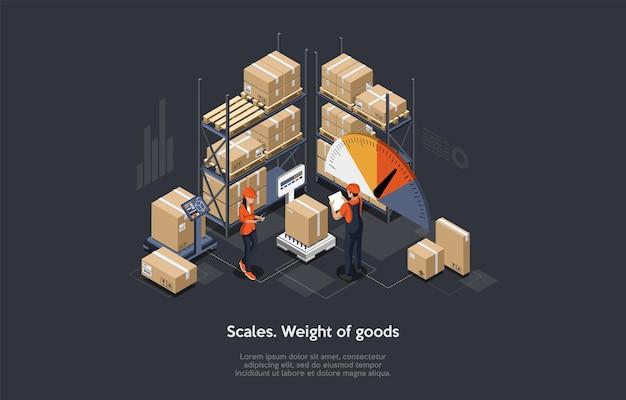 Изометрические складские грузовые концепции. плоский стиль.