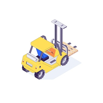 Isometric warehouse forklift pallet lift and machine illustration