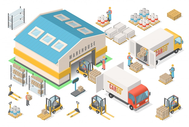 Isometric warehouse icon set, scheme, logistic