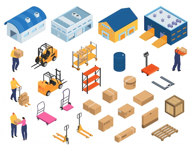 Isometric warehouse, industrial equipment for storage and distribution, set of   illustrations. forklifts carrying pallets with boxes, storehouse shelves, warehouse workers, buildings.