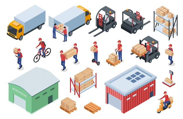 Isometric warehouse logistics delivery worker cargo vehicle forklift truck storage shelf with boxes