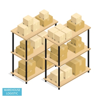 Isometric warehouse logistics shipping cardboard box vector