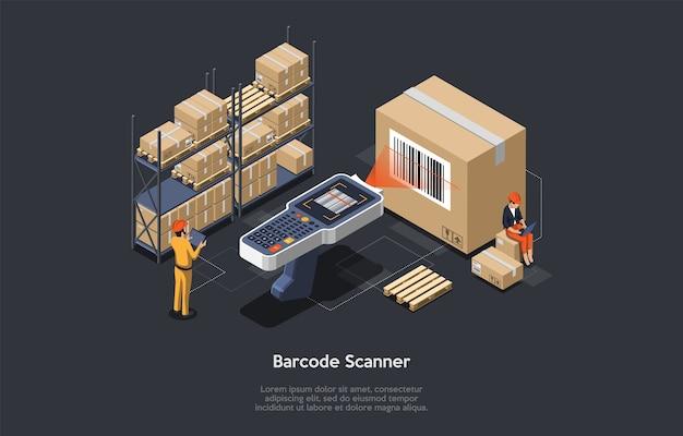 等尺性の倉庫管理者または大きなバーコードスキャナーを持った倉庫作業員が商品をチェックしています。商品のスキャン、ロード、アンロードのプロセス。棚卸しの仕事。ベクトルイラスト。