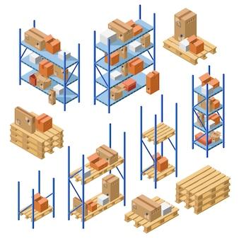 Isometric warehouse metal shelvings, storage rack