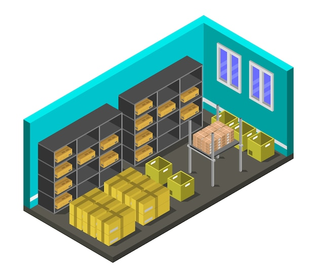 Isometric warehouse room