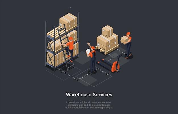 아이소 메트릭 창고 서비스 개념. 소포 및 핸드 팔레트 트럭,화물 서비스가있는 랙이있는 산업 창고. 노동자들은 기술 상품을 분류하고 있습니다. 벡터 일러스트 레이 션.