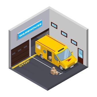 等尺性倉庫。ストレージとトラック。フラットアイソメトリックアイコン。トラック付きの等尺性ガレージ。