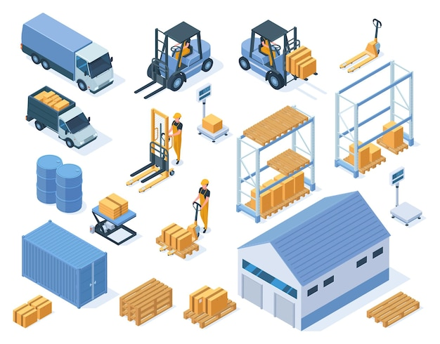 Isometric warehouse storage delivery logistic services elements. warehouse building, forklifts and warehouse workers vector illustration set. industrial storage equipment
