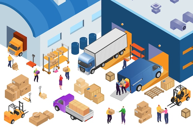 Isometric warehouse storage and industrial equipment, 3d  illustration. forklift carrying pallets with boxes, storehouse shelves, cargo trucks, warehousemen. wares delivery and transportation.