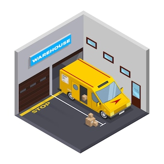 Isometric warehouse. storage and truck. flat isometric icon. isometric garage with truck.