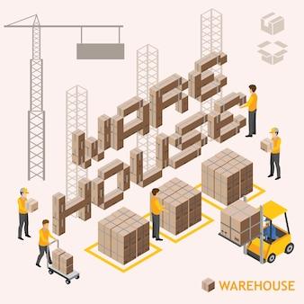 Isometric warehouse vector design