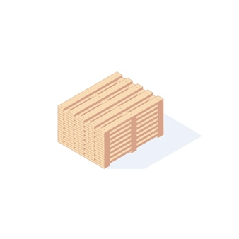 Isometric warehouse wooden pallet for boxes package transportation illustration