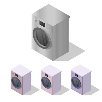Isometric washing machine isolated