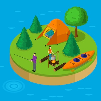 Isometric water active recreation concept