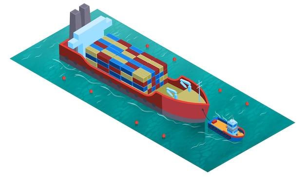 Изометрическая композиция водного транспорта с квадратной платформой, водным траулером и баржей с грузом