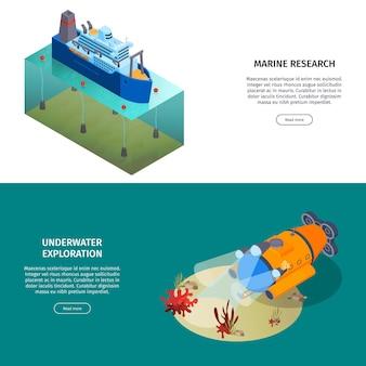 편집 가능한 텍스트가있는 깊은 잠수 차량 및 연구 선박이있는 아이소 메트릭 물 수송 수평 배너 모음