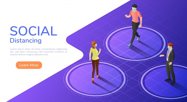 Isometric web banner people keep distance between each other to avoid spreading covid-19 virus