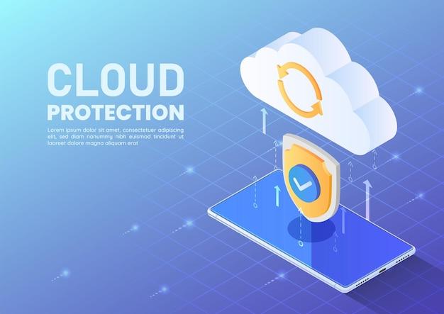 スマートフォンからクラウドへのデータ転送を保護するアイソメトリックwebバナーシールド。クラウドデータ保護とクラウドコンピューティングの概念。