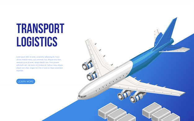 Isometric web design about transport logistics