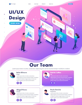 Isometric web landing page of bright concept the process of creating an application design, ui ux