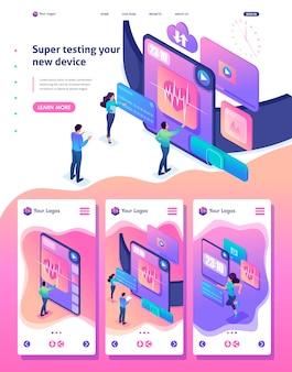 Изометрическая веб-целевая страница яркой концепции команда тестирует новое устройство, smartwatch
