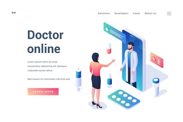 Изометрический дизайн веб-страницы для продвижения медицинского онлайн-сервиса