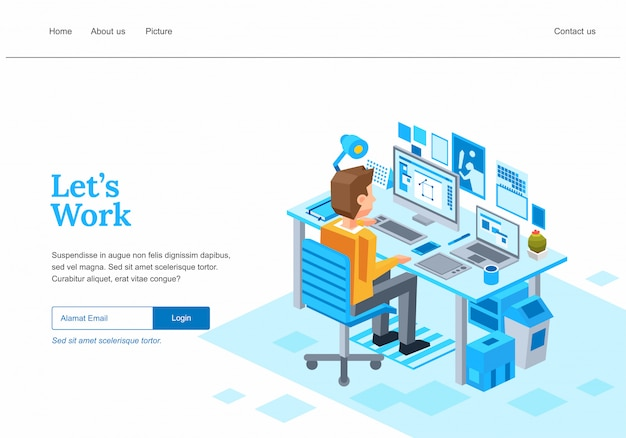 Isometric web page template  for creative business process, a graphic designer working on computer with pen tablet illustration -
