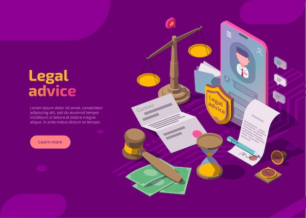 Isometric web page with scales, phone, gavel, hourglass, seal and documents.