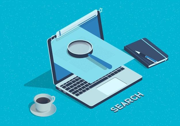 ノートパソコンのイラストと等尺性のウェブ検索の概念