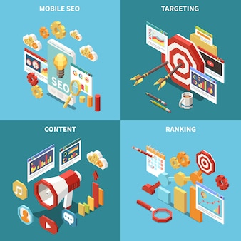 Isometric web seo icon set with mobile seo targeting content and ranking descriptions  illustration