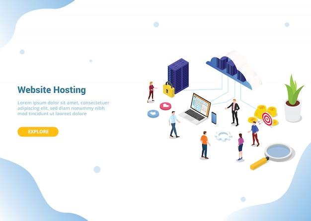 Isometric web or website hosting business service for web or website template