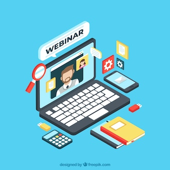 Isometric webinar concept with laptop