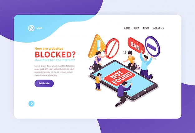 Isometric website concept landing page design with text links and images vector illustration