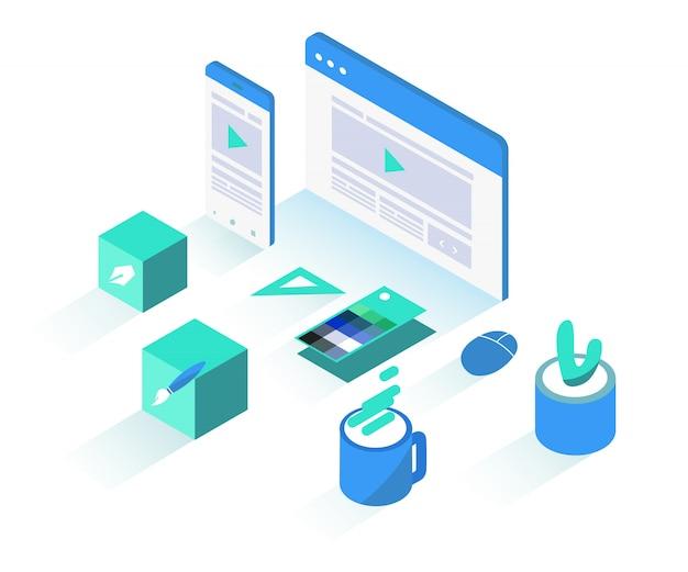 Isometric website design object illustration