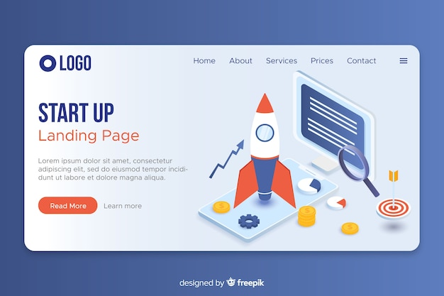 Isometric website landing page