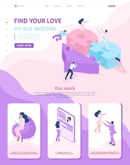 Isometric website template landing page acquaintance, love, meeting, people connect parts of a big heart