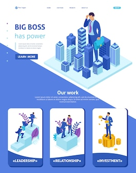 Isometric website template landing page big businessman looks down at the city, the concept of power