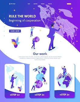Isometric website template landing page big businessman running the world, world map