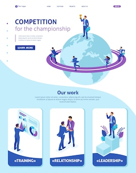 Isometric website template landing page businessman at the top of the world, entrepreneurs compete