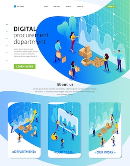 アイソメトリックウェブサイトテンプレートデジタル調達、マーケティングリサーチ、チームワークのランディングページの概念。アダプティブ3d。