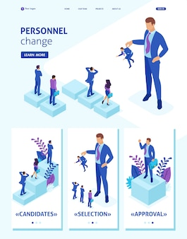 Isometric website template landing page personnel change, the big boss keeps the employee the rest are afraid.