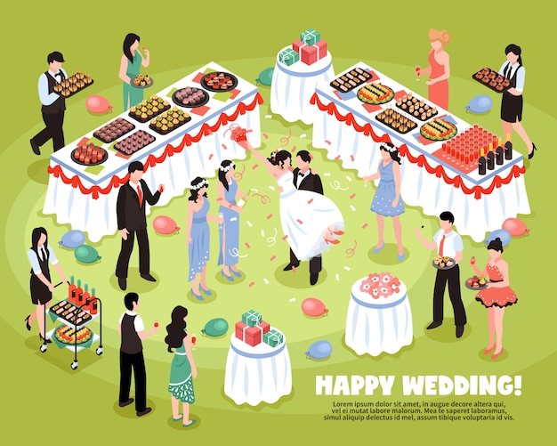 Isometric wedding party background