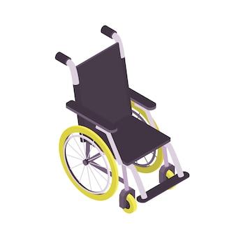 Изометрические инвалидной коляски изолированы на белом фоне.
