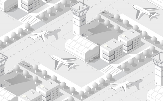 Isometric white airport